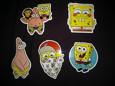 LAPTOP STICKERS SPONGEBOB STYLE CAR SKATEBOARD INSTRUMENT CASE DECALS LOT OF 5 for sale  Shipping to India
