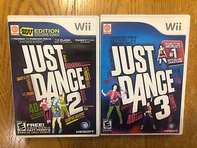 Wii Games , Just Dance 2 / Just Dance 3 , Clean ( Lot of 2 )
