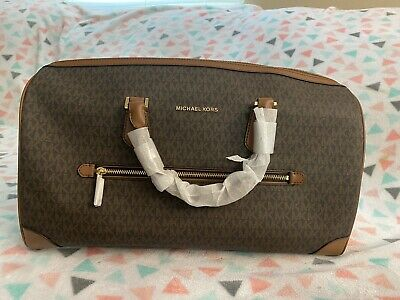Michael Kors Large Signature PVC Travel Duffle Carry On Hand Bag