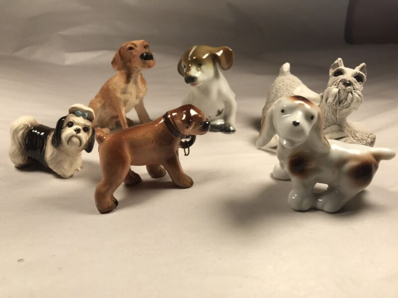 Miniature Dog Figurines Statues Lot of 6