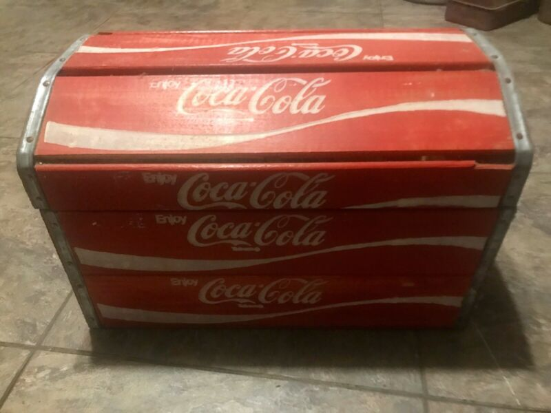 Vintage Coca-Cola Wooden Bottle Crate Chest Box w/Tin Edges