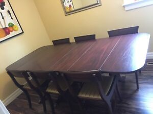 Antique solid mahogany dinning with six chairs