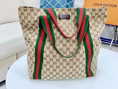 Vintage Gucci Italy Gym Duffle Travel Carry On Carryall Mens Tote Bag Holdall