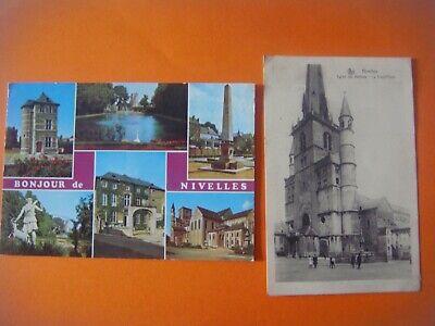 Lot de 2 cartes de NIVELLES ( multivues Bonjour de /Eglise Ste Gertrude Gd'place