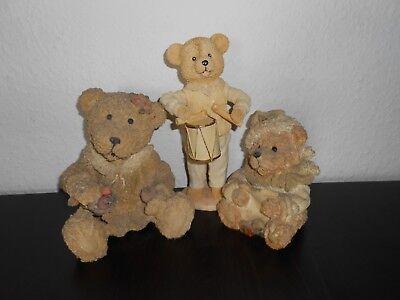 Drei Teddy Bären Konvolut Figuren Sammeln Selten Spielzeug Puppen Dekoartikel