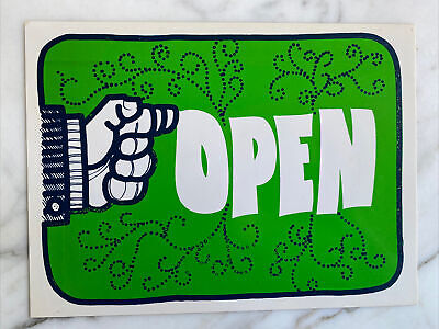 Vtg 70s Groovy Openclosed Shop Boutique Flip Sign 12x9 Vinyl Green White