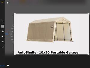 Toile de garage neuve 10/20 avec portes  sans armature
