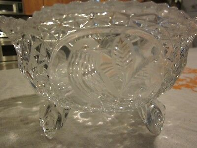 Vintage Three Footed Deep Cut Glass Serving Bowl Etched Birds Sawtooth Edge 7x4