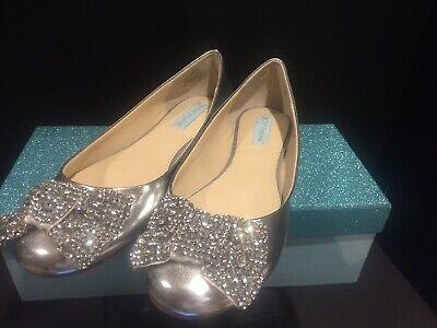 Blue By Betsey Johnson SB-Ever Jewel Bow Silver Metallic Ballet Flat SZ 9.5 NIB