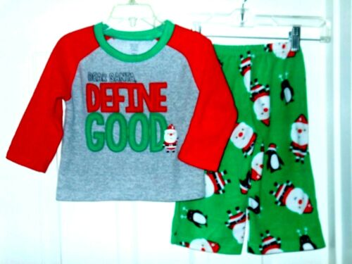 """Just One You boy 18m Holiday 2 pc fleece Pajama,""""Define Good"""".red/green"""