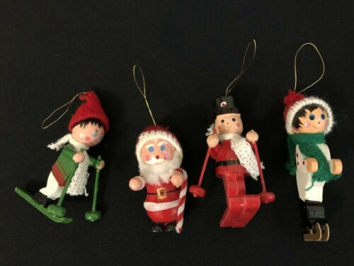 4 Vintage Wooden Christmas Ornaments Skiers / Skater/ Santa with knit hats