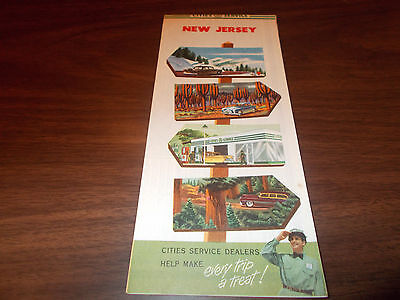 1953 Cities Service New Jersey Vintage Road Map