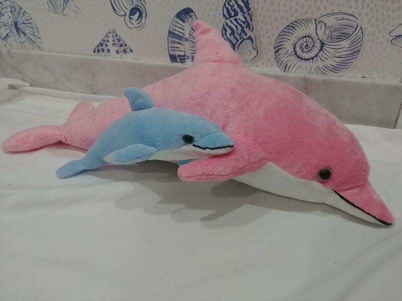 Pink Dolphin Mom & Blue Baby Plush Toy Stuffed Animal realistic sound NWT Cancun