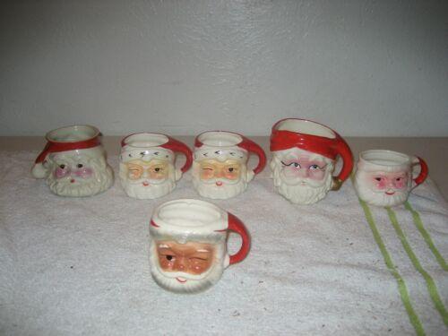 6 Vintage Christmas Santa Claus face winking ceramic cups mugs Japan assorted