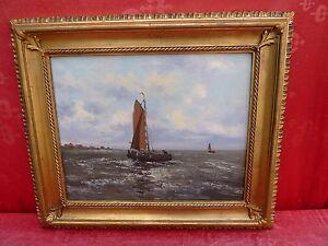 Sublime ancien tableau bateaux de p che sign ebay for Delta 0 tableau de signe