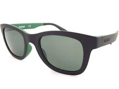 Timberland Polarisiert Sonnenbrille Matt Schwarz über Grün/Grün Gläser TB9080