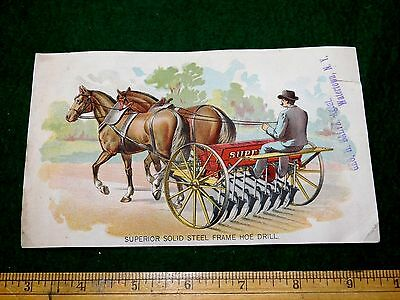 1870S 80S Lovely Superior Solid Steel Frame Hoe Drill Victorian Trade Card  X