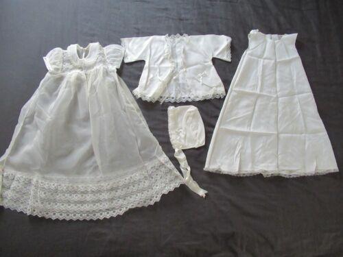 Antique Vintage Ivory Chiffon White Lace Baby Christening Dress Hat Slip Jacket
