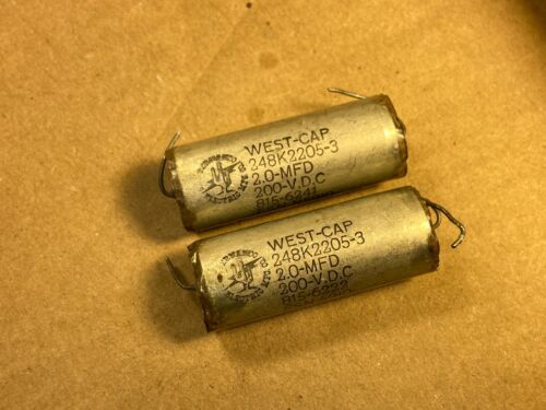 2 Vintage 2.0 uf 200v West-Cap Vitamin Q-Style Crossover Capacitors 2 uf