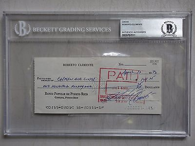 ROBERTO CLEMENTE SIGNED BECKETT BAS PERSONAL CHECK CERTIFIED AUTHENTIC AUTOGRAPH