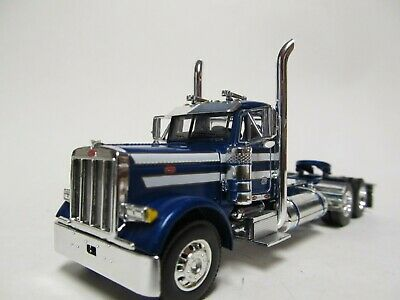 DCP 1/64 SCALE 379 PETERBILT DAY CAB BLUE WITH WHITE STRIPES  DUAL CHROME STACKS