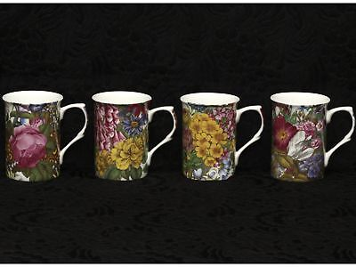 4 (Four) STECHCOL GRACIE GARDEN PARTY Bone China Cylinder Mugs