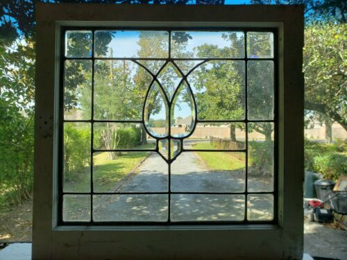 ANTIQUE BEVELED GLASS WINDOW  ARCHITECTURAL SALVAGE