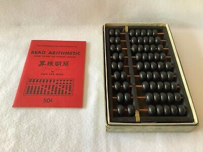 """Vintage Bead Abacus w/""""Bead Arithmetic"""" Instruction Booklet"""