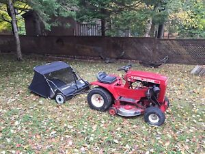 Lawn tractor & leaf sweeper