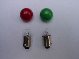 LIONEL Z,V, R  TRANSFORMER GREEN (R 69)  & RED (R 68)  JEWEL LENS CAPS & 2 BULBS