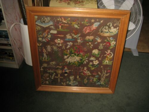 1881 Antique Needlepoint Sampler Signed By Maude