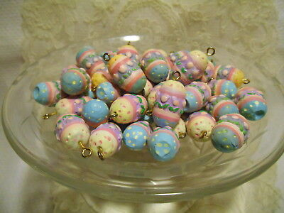 Mini Hand Painted textured Plastic Easter Egg Tree Ornaments Decorations Lot 50