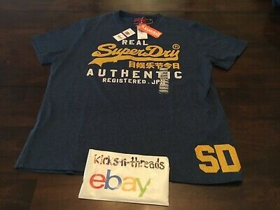 SUPERDRY VINTAGE AUTHENTIC DUO TEE ( MENS SIZE 44 XXL ) BLUE BLACK GRIT NWT