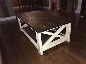 Rustic X base farmhouse coffee table for sale