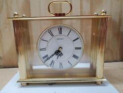 Seiko Gold Tone Desk and Table Carriage Clock