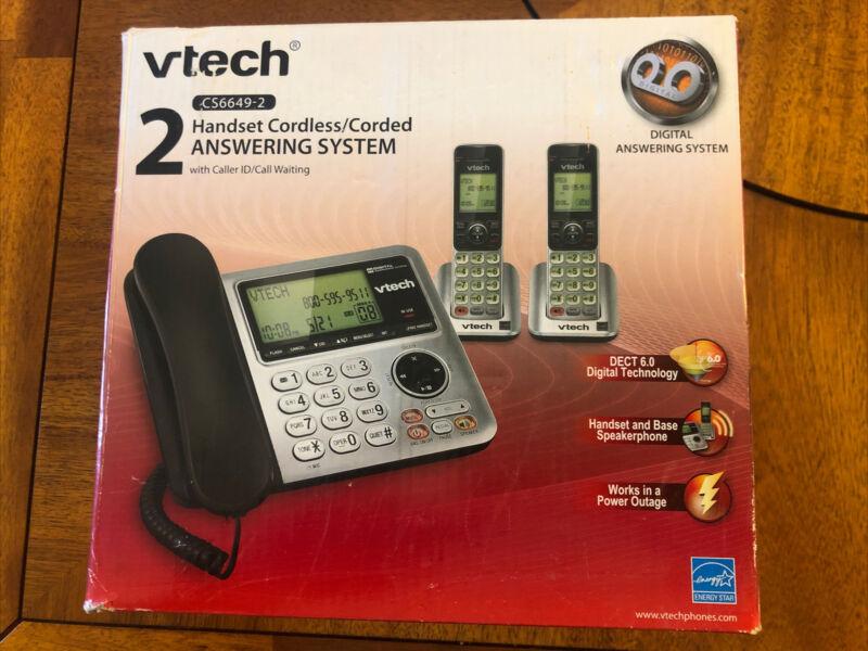 VTech CS6649-2 Dual Handsets Single Line Cordless Phone Brand New