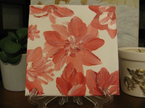 """Original, Hand Painted, Coral Flower, Art Acrylic on Canvas 4""""x4"""" w/Stand"""
