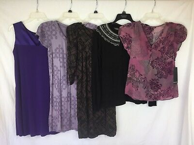 Lot of 5 NEW Women's Daisy Fuentes Blouse Dresses Sweater Purple Black Brown