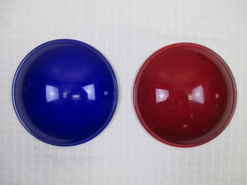 Red & Blue Dome Shaped Stage Signal Light Filter Lenses - Pyrex #5733