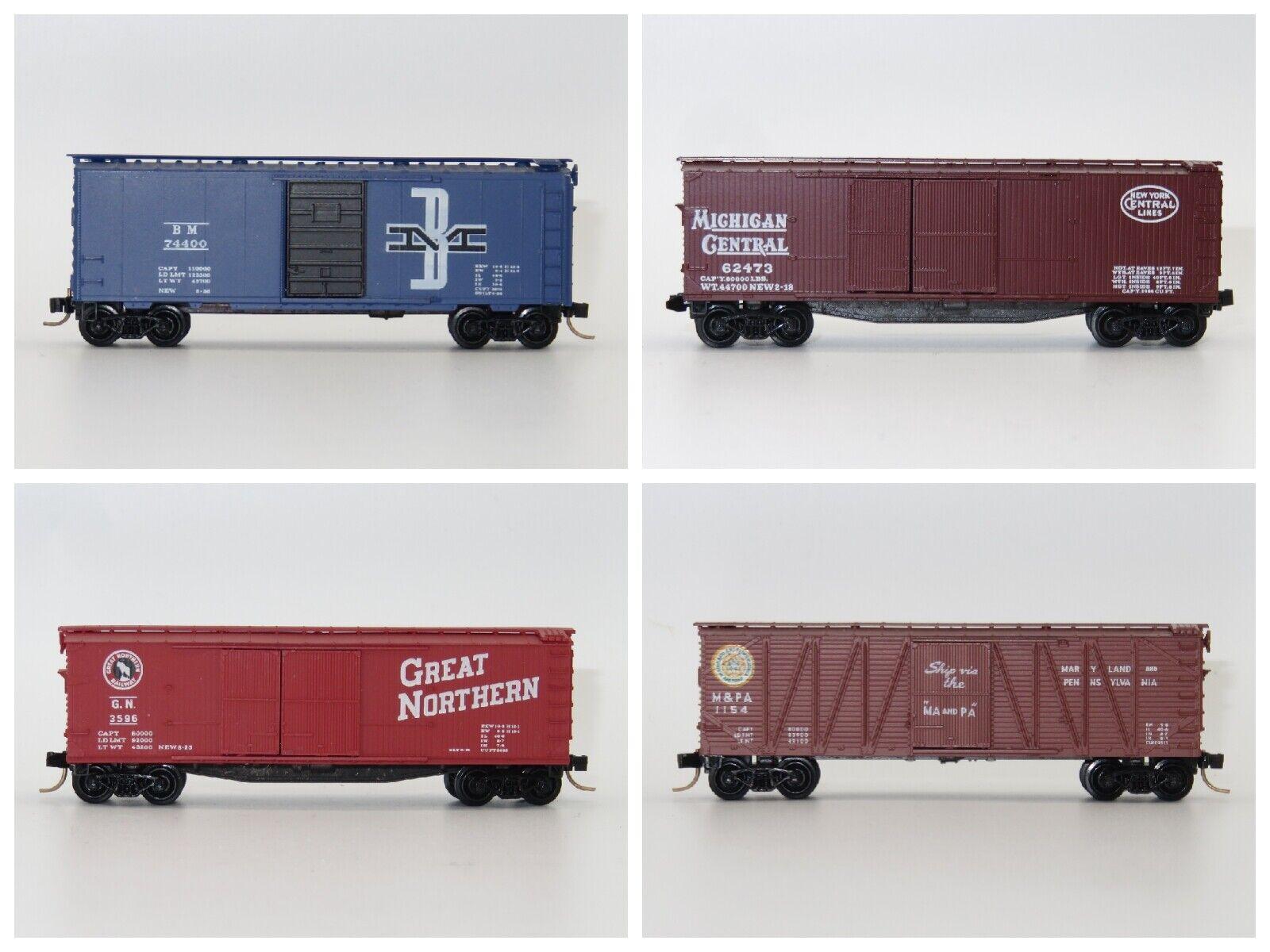 4er-Set US Micro-Trains 40' Box Car Boston Maine Michigan Northern Maryland Penn