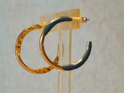 GOLD TONE PIERCED RETRO HOOP EARRINGS WITH BLUE ACRYLIC ACCENTS