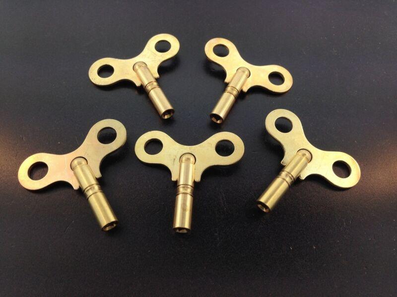 Set of 5 Solid Brass Clock Keys #5 or 3.4 mm.