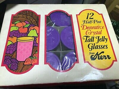1/2 Pint NEW OLD STOCK 11 Vintage Crystal Tall Jelly Glasses KERR w/ LIDS BOX