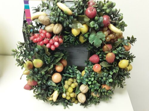 Vintage Christmas Wreath Plastic Fruit Nuts Decor Door Holiday Bananas Grapes