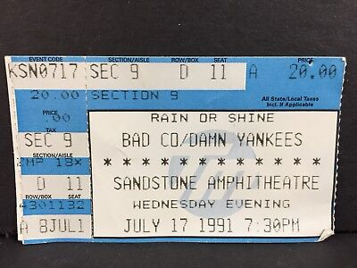 1991 BAD COMPANY DAMN YANKEES KANSAS CITY CONCERT TICKET STUB TED NUGENT SHAW
