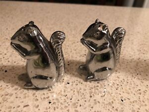 silver plated lead squirrel salt and pepper shakers