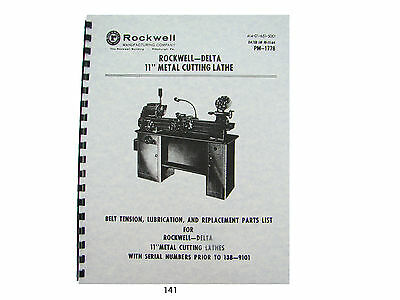 Rockwell - Delta 11 Lathe Lube And Parts List Breakdown Manual 141