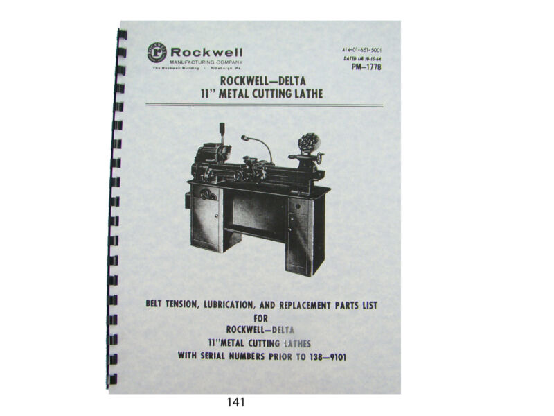 """Rockwell - Delta 11"""" Lathe Lube and Parts List & Breakdown Manual #141"""