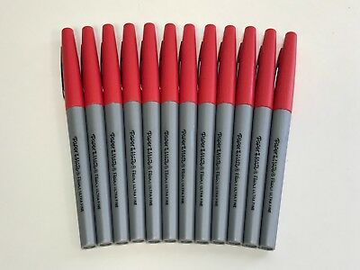 Paper Mate Flair Felt Tip Pens Ultra Fine Point 0.4mm Red 12 Count