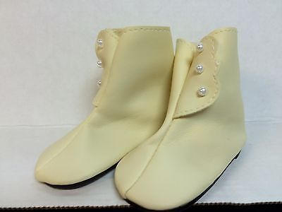 Doll boots antique style lot of 3 pair cream color